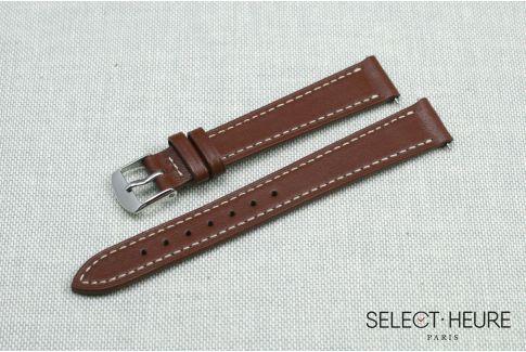 Bracelet montre cuir SELECT-HEURE Marron Or pour femmes, pompes rapides (interchangeable)
