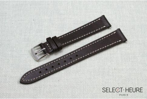 Bracelet montre cuir SELECT-HEURE Marron Foncé pour femmes, pompes rapides (interchangeable)