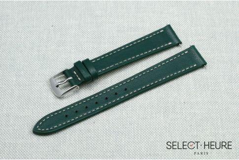 Bracelet montre cuir SELECT-HEURE Vert Anglais pour femmes, pompes rapides (interchangeable)
