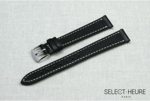 Black SELECT-HEURE women leather watch strap, quick release spring bars