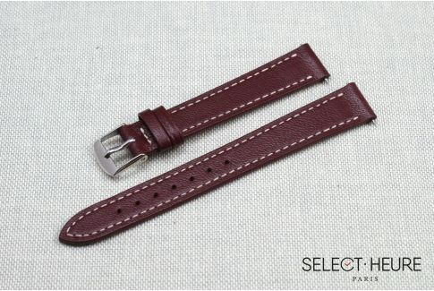 Bracelet montre cuir SELECT-HEURE Bordeaux pour femmes, pompes rapides (interchangeable)