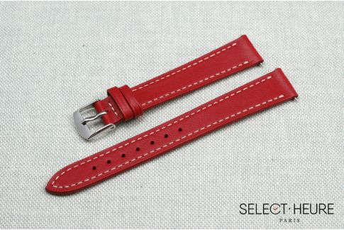Red SELECT-HEURE women leather watch strap, quick release spring bars