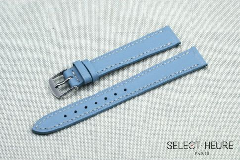 Light Blue SELECT-HEURE women leather watch strap, quick release spring bars