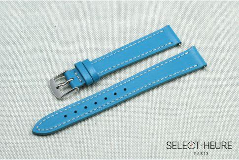 Bracelet montre cuir SELECT-HEURE Bleu Orient pour femmes, pompes rapides (interchangeable)