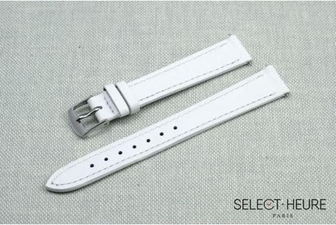 Bracelet montre cuir SELECT-HEURE Blanc pour femmes, pompes rapides (interchangeable)