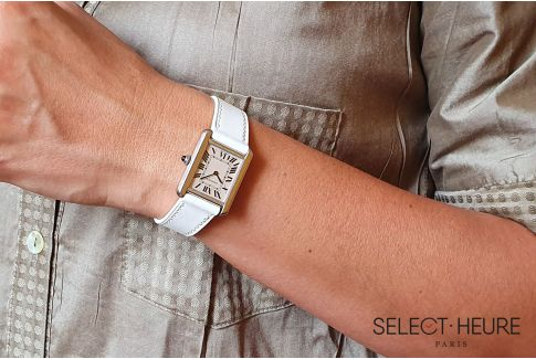 White SELECT-HEURE women leather watch strap, quick release spring bars