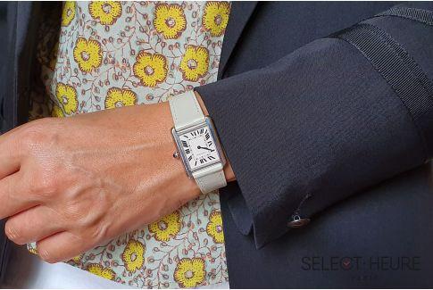 Bracelet montre cuir SELECT-HEURE Ivoire pour femmes, pompes rapides (interchangeable)