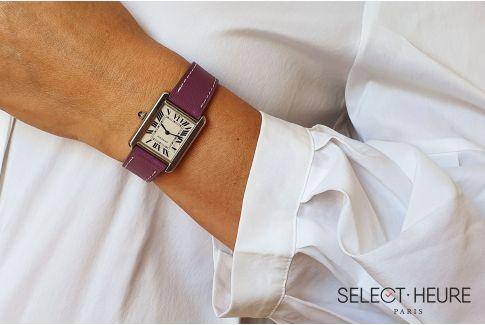 Bracelet montre cuir SELECT-HEURE Violet pour femmes, pompes rapides (interchangeable)