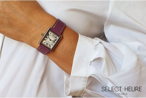 Purple SELECT-HEURE women leather watch strap, quick release spring bars