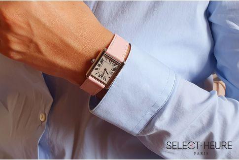 Bracelet montre cuir SELECT-HEURE Rose pour femmes, pompes rapides (interchangeable)