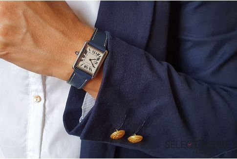 Bracelet montre cuir SELECT-HEURE Bleu Marine pour femmes, pompes rapides (interchangeable)
