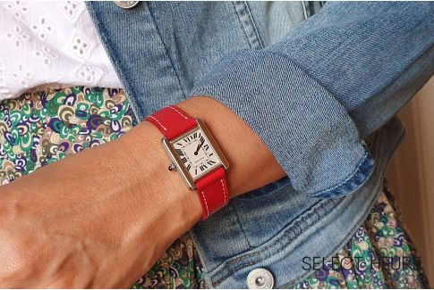 Bracelet montre cuir SELECT-HEURE Rouge pour femmes, pompes rapides (interchangeable)