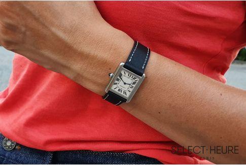 Bracelet montre cuir SELECT-HEURE Noir pour femmes, pompes rapides (interchangeable)