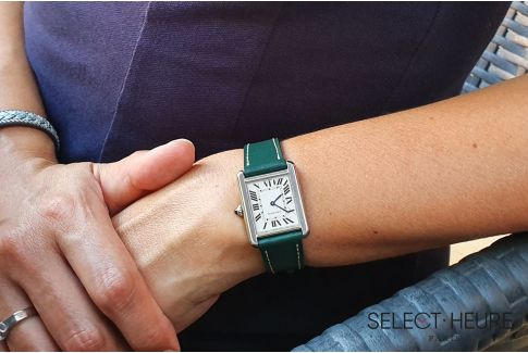 Green SELECT-HEURE women leather watch strap, quick release spring bars