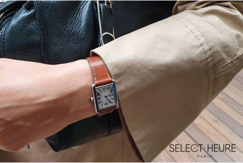 Bracelet montre veau haut de gamme SELECT-HEURE Marron Gold pour femmes, pompes rapides (interchangeable)