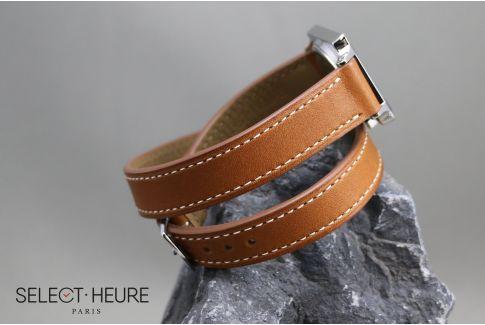 Bracelet montre cuir Double Tour SELECT-HEURE Marron Gold pour femmes, veau haut de gamme, pompes rapides (interchangeable)