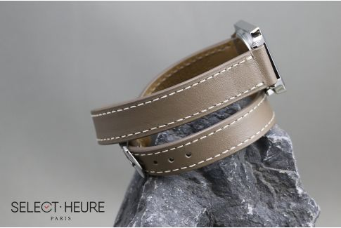 Taupe Grey Double Turn SELECT-HEURE women leather watch strap, quick release spring bars