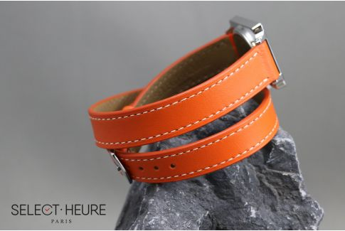 Bracelet montre cuir Double Tour SELECT-HEURE Orange pour femmes, pompes rapides (interchangeable)