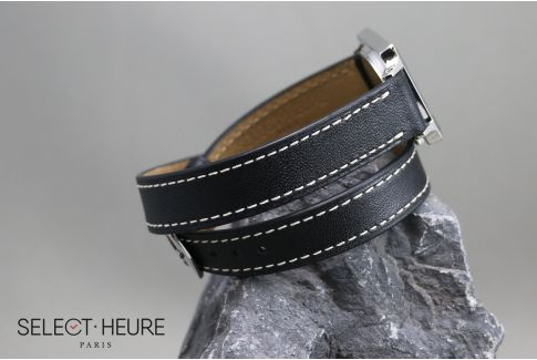 Black Double Turn SELECT-HEURE women leather watch strap, quick release spring bars