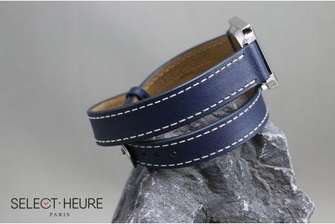Bracelet montre cuir Double Tour SELECT-HEURE Bleu Marine pour femmes, pompes rapides (interchangeable)
