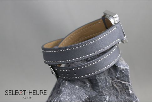 Grey Double Turn SELECT-HEURE women leather watch strap, quick release spring bars