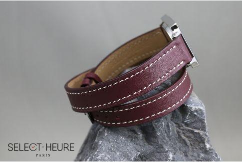 Bracelet montre cuir Double Tour SELECT-HEURE Bordeaux pour femmes, pompes rapides (interchangeable)