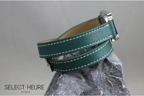 Bracelet montre cuir Double Tour SELECT-HEURE Vert Anglais pour femmes, pompes rapides (interchangeable)