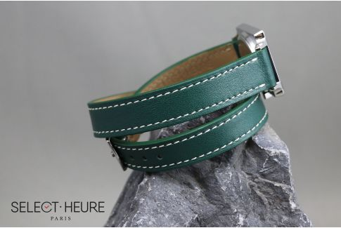 Green Double Turn SELECT-HEURE women leather watch strap, quick release spring bars