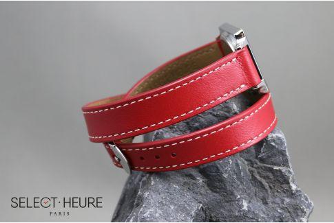 Bracelet montre cuir Double Tour SELECT-HEURE Rouge pour femmes, pompes rapides (interchangeable)