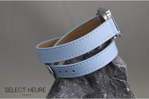 Bracelet montre cuir Double Tour SELECT-HEURE Bleu Clair pour femmes, pompes rapides (interchangeable)