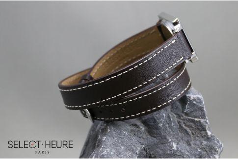 Bracelet montre cuir Double Tour SELECT-HEURE Marron Foncé pour femmes, pompes rapides (interchangeable)