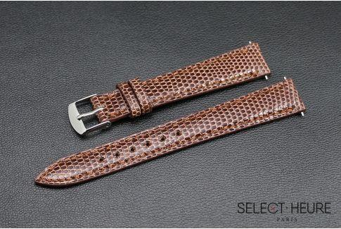 Bracelet montre Lézard véritable SELECT-HEURE Acajou pour femmes, pompes rapides (interchangeable)