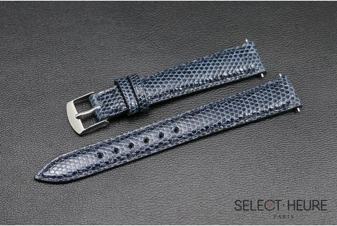 Navy Blue genuine lizard SELECT-HEURE women watch strap, quick release spring bars