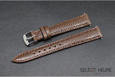 Bracelet montre Lézard véritable SELECT-HEURE Châtaigne pour femmes, pompes rapides (interchangeable)