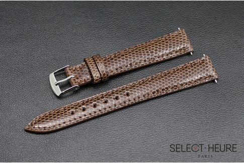 Chestnut genuine lizard SELECT-HEURE women watch strap, quick release spring bars