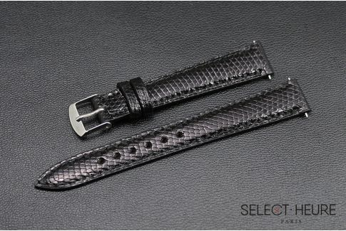 Bracelet montre Lézard véritable SELECT-HEURE Noir pour femmes, pompes rapides (interchangeable)