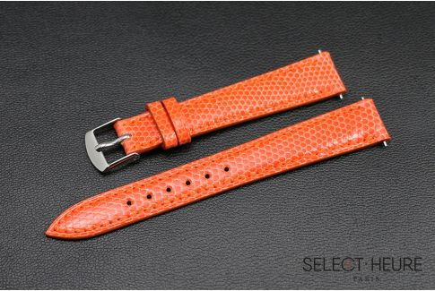 Orange genuine lizard SELECT-HEURE women watch strap, quick release spring bars