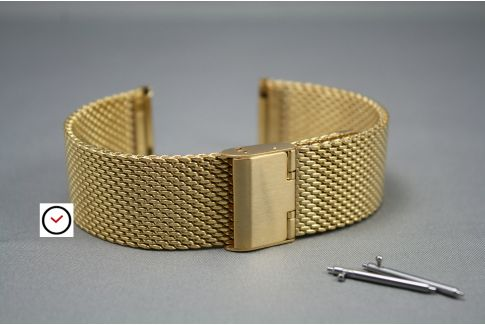 Yellow Gold stainless steel MESH watch strap (milanese) with quick release spring bars -  18, 20, 22 or 24 mm width
