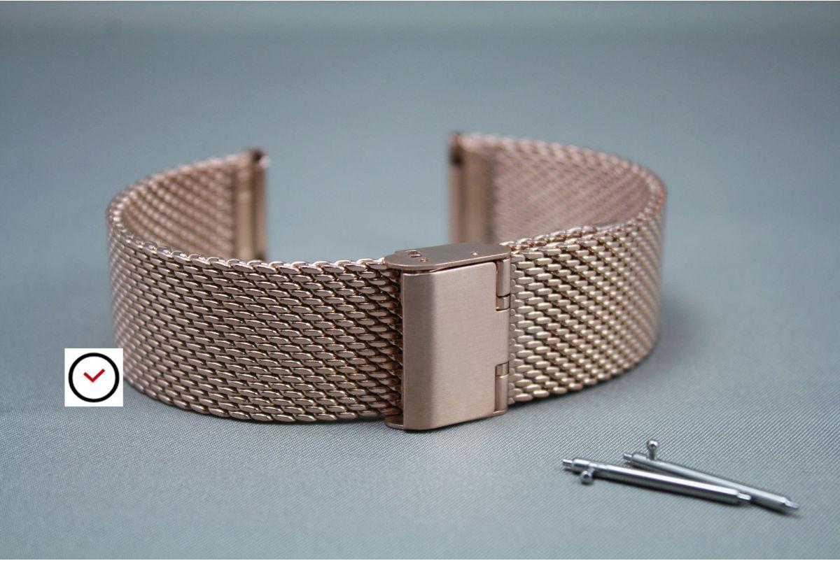 Bracelet montre MESH (maille milanaise) Or Rose interchangeable avec pompes rapides à ergots (barrettes presto, flash)