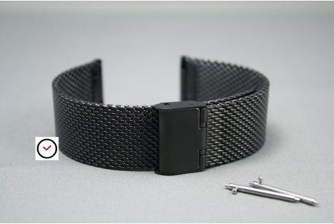 Bracelet montre MESH (maille milanaise) Noir interchangeable avec pompes rapides à ergots (barrettes presto, flash)