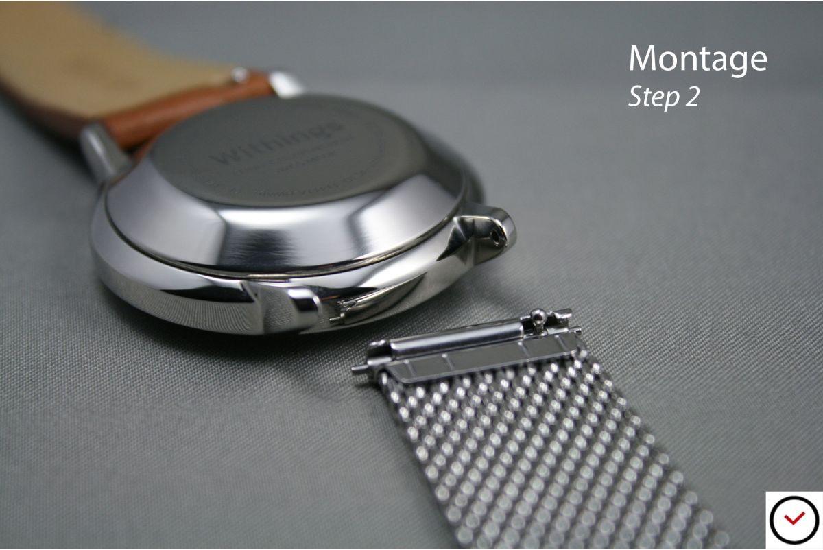 Bracelet montre MESH (maille milanaise) Or Jaune interchangeable avec pompes rapides à ergots (barrettes presto, flash)