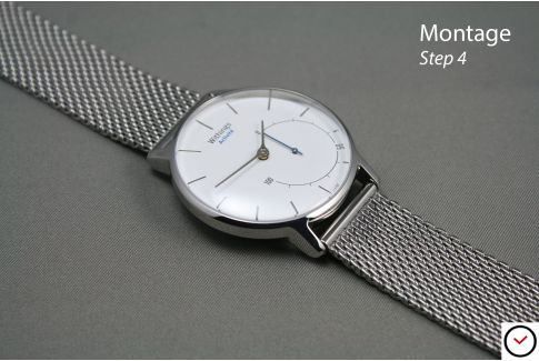 Bracelet montre MESH (maille milanaise) interchangeable avec pompes rapides à ergots (barrettes presto, flash)