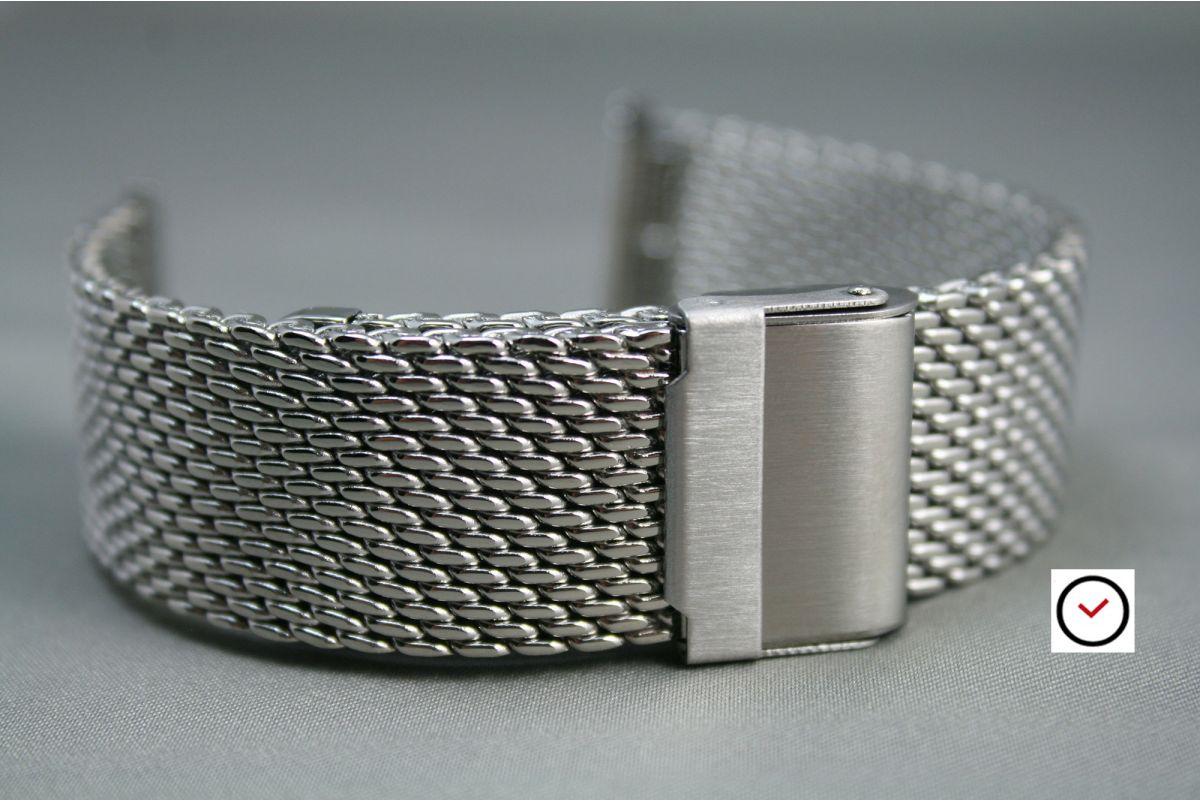 Bracelet montre MESH (maille milanaise) acier inox - largeur 18, 20, 22, 24 mm - longueur ajustable et fermoir avec sécurité