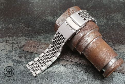 Vintage Beads of Rice solid stainless steel watch band (18, 20 or 22 mm), security clasp