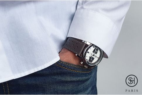Grey Rallye SELECT-HEURE leather watch strap with quick release spring bars (interchangeable)