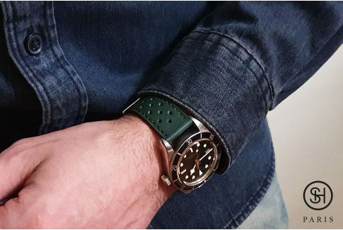 Empire Green Rallye SELECT-HEURE leather watch strap with quick release spring bars (interchangeable)