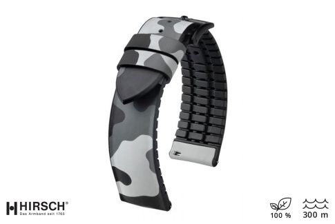 Grey Camouflage John HIRSCH natural rubber watch bracelet