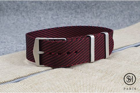 Burgundy Black adjustable Serge SELECT-HEURE nylon watch strap