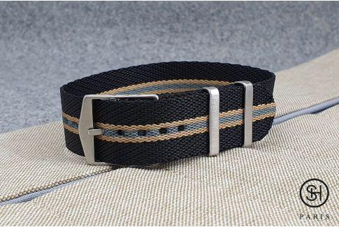 Bracelet montre Nylon Sergé SELECT-HEURE ajustable Noir Gris Sable