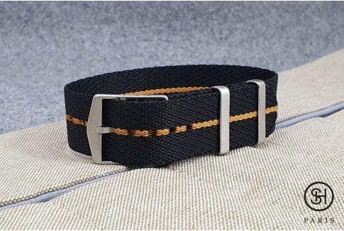 Black Ocher adjustable Serge SELECT-HEURE nylon watch strap